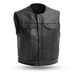 Short Collarless Platinum Leather Motorcycle Club Vest