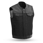 Black Leather & Raw Denim Motorcycle Vest