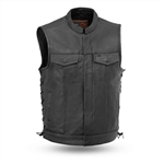 Side Lace Men's Leather Motorcycle Club Vest
