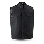 Black Raw Canvas Motorcycle Vest