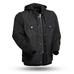 Black First Classics Denim Motorcycle Vests W/ Hoody
