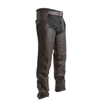"First Classics Copper Brown Leather Motorcycle Chaps ""Rover"""