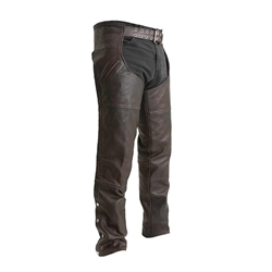First Classics Copper Brown Leather Motorcycle Chaps