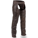 Thermal Brown Leather Motorcycle Chaps, First Classics