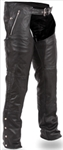 Black Leather Motorcycle Chaps - Thermal Lining - Unisex