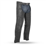 Unisex Deep Pocket Leather Motorcycle Chaps
