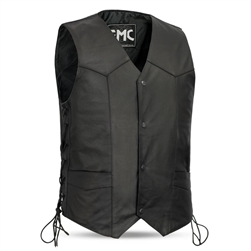FMC Mens Leather Motorcycle Vest, Side Lace