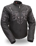 Skull Womens Leather Motorcycle Jacket: Body Armor