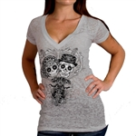 Sugar Skulls Ladies Biker T-Shirt