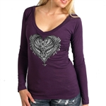 Ornate Heart Motorcycle Ladies Biker T-Shirt
