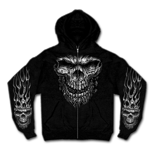 Biker Hoodies Zip Up Shredder Skull Sweat Shirt On Sale