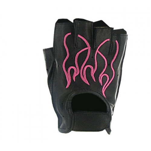 Pink Flame Leather Fingerless Motorcycle Gloves
