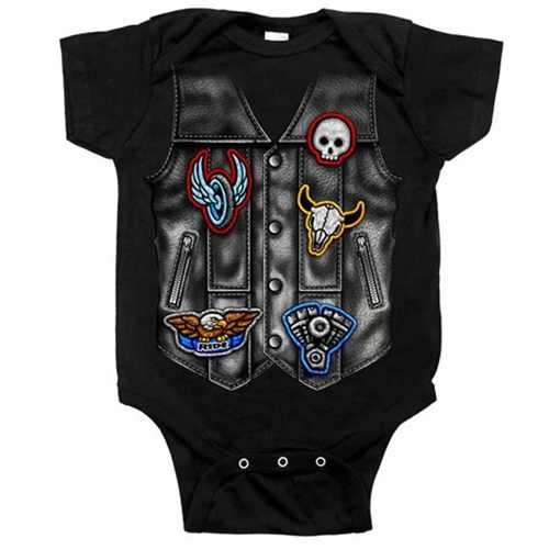 57cbed0c8be7 Baby Boy Biker Clothes  Motorcycle Vest Body-Suit (Newborn - 18M)
