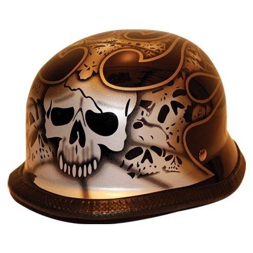Skull Amp Flames German Novelty Motorcycle Helmets Clearance