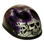 Purple Skull Novelty Motorcycle Helmet