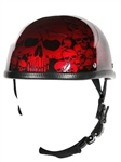 Skull Novelty Motorcycle Helmets: Burgundy Boneyard