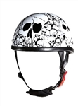 Skull Novelty Motorcycle Helmet: White Boneyard