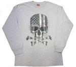 Men's Biker Shirts: Long Sleeve Skull Flag