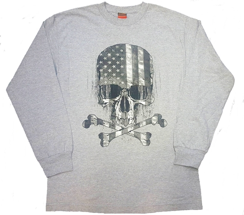 Mens Biker T Shirts Long Sleeve Skull Amp Crossbones Usa Flag