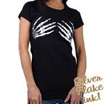 Women's Skeleton Hand Black T-Shirt: Biker Apparel