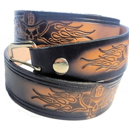 Custom Leather Fire Fighter Skull Belt: American Made