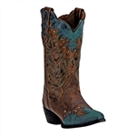 Laredo Women's Antigua Cowgirl Boots: Brown & Turquoise