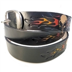 Skull & Flames Embossed Leather Belt Removable Buckle