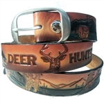 Custom Embossed Leather Deer Hunter Belt, USA Cowhide