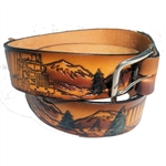 "Genuine Solid Leather ""Trucks & Mountains"" Print Belt"