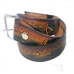 Leather Fancy Fishing Print Belts, Genuine Custom Cowhide