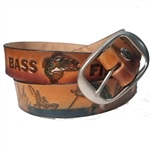 Genuine Leather Bass Fishing Embossed Belt, USA Cowhide