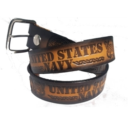 Genuine Leather US Navy Print Belt
