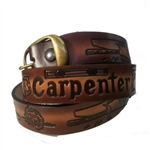 Genuine Solid Leather Carpenter Print Belt: American Made