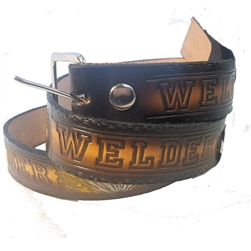 Custom Leather Welder Print Belt: American Made Cowhide