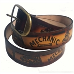 Genuine Leather Mechanic Print Belt, Custom Cut