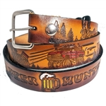 Genuine Cowhide Leather Print Belts, Embossed Beer Hunter