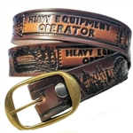 Leather Heavy Equipment Operator Embossed Belt, USA Cowhide