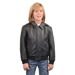 Kids Leather Bomber Jacket