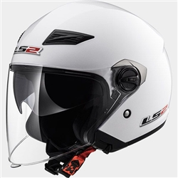 LS2 White Open Face Motorcycle Helmet