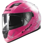 LS2 Ladies Full Face Motorcycle Helmet: Pink Stream