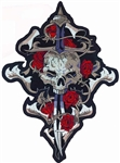 Biker Patches Skull Rose Dagger, Lethal Threat