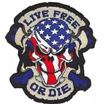 Biker Patches Skull Patriotic Live Free Or Die