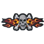 Biker Patches Skull Flaming Cross Bones