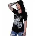 Women's Liberty Wear T-Shirts: Splatter Studded Motorcycle Short Sleeve