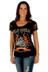 Women's Biker T-Shirts: Rhinestone Wild Child