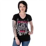 Women's Black Biker T-Shirts: Devilish Ride Bling MC