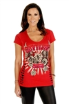 Women's Biker T-Shirts: Devilish Ride Red Bling