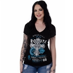 Women's Liberty Wear T-Shirts: Route 66, Road Tested Biker Rhinestones