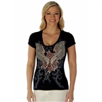Women's Liberty Wear T-Shirts: Guns & Wings Rhinestone
