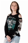 Tread Lightly Long Sleeve Slit T-Shirt, Liberty Wear Bling